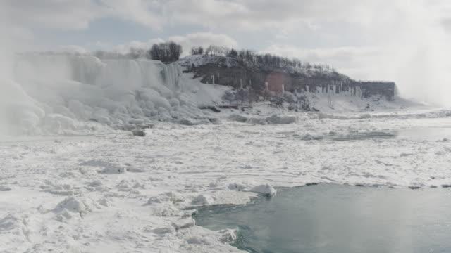 vídeos y material grabado en eventos de stock de cascada de las cataratas del niágara en invierno (super cámara lenta - río niágara