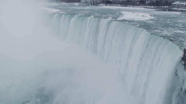 vídeos de stock e filmes b-roll de catarata de cataratas do niágara no inverno (super câmara lenta - niagara falls city estado de nova iorque
