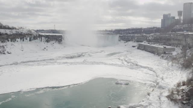 niagara falls wasserfall im winter (super zeitlupe - niagara falls city bundesstaat new york stock-videos und b-roll-filmmaterial