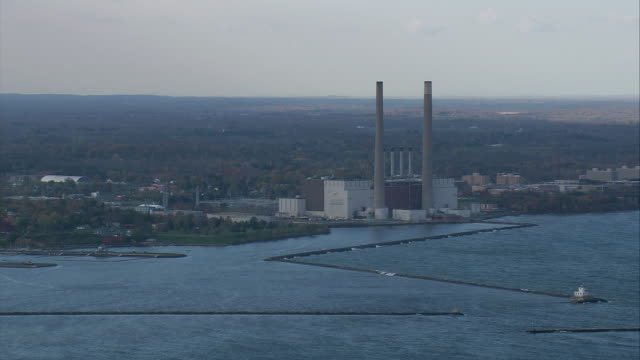 AERIAL Niagara Mohawk Steam Station on the shore of Lake Ontario / Oswego, New York, United States