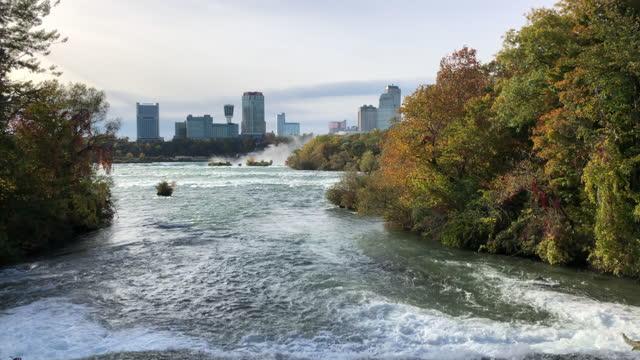 niagara river and canadian skylines. - river niagara stock videos & royalty-free footage