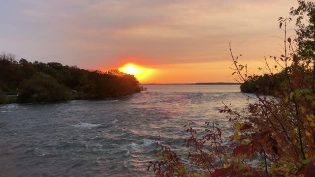 niagara river at sunrise. - river niagara stock videos & royalty-free footage