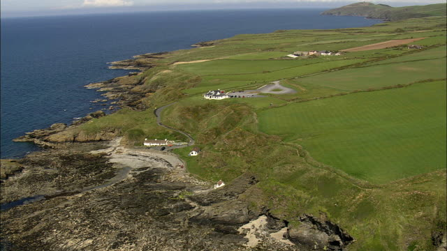 niarbyl bay  - aerial view -, isle of man - isle of man stock videos & royalty-free footage