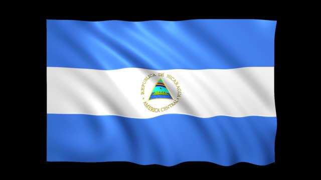 vídeos de stock, filmes e b-roll de nicarágua bandeira matte loopable incluído-stock video - política e governo
