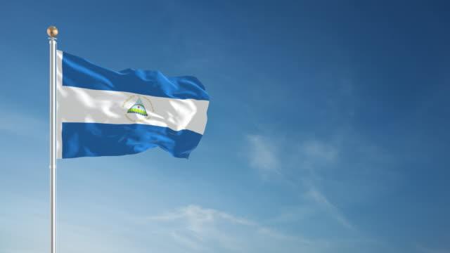 4k nicaragua flag - loopable - nicaragua stock videos and b-roll footage