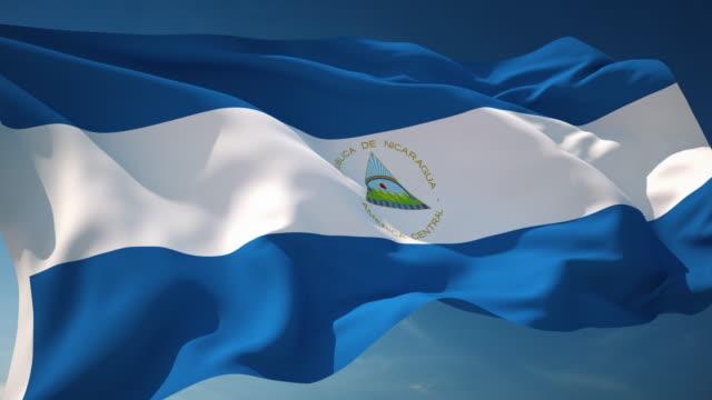 nicaragua flag - loopable - nicaragua stock videos and b-roll footage
