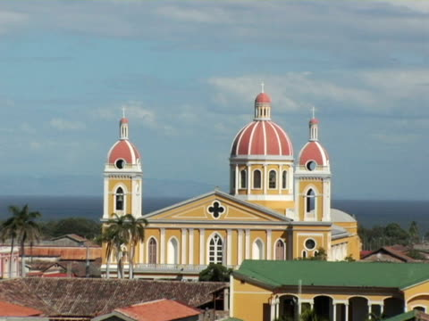 MS, Nicaragua, Granada, High section of cathedral and old city rooftops