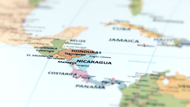 Nicaragua Location On World Map.North America Nicaragua On World Map Stock Footage Video Getty Images