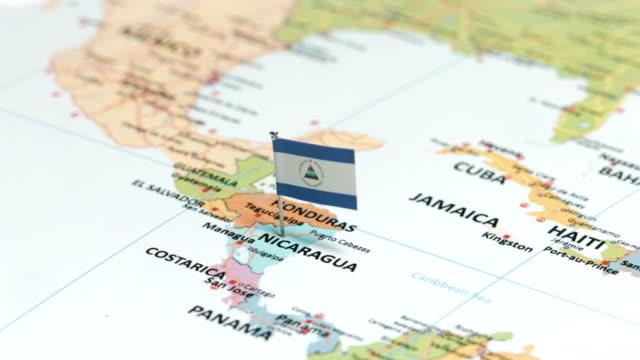 nicaragua with national flag - nicaragua stock videos & royalty-free footage