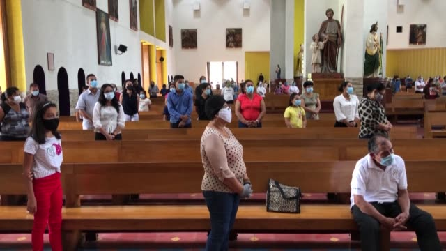 nicaraguan catholic churches reopen their doors to believers, after voluntarily closing down to prevent the spread of covid-19 in the latin american... - managua stock videos & royalty-free footage