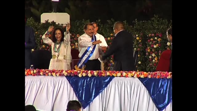 nicaraguan ex-rebel daniel ortega, joined by allies from iran and venezuela, started his third term as president tuesday with a legislative... - managua stock videos & royalty-free footage