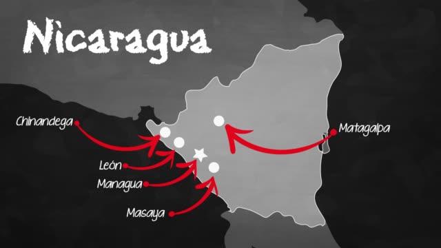 ニカラグアのマップ - マナグア点の映像素材/bロール