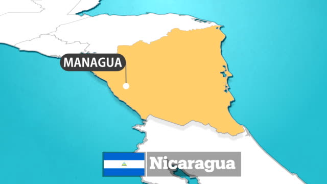 nicaraguan map with flag - nicaragua stock videos & royalty-free footage