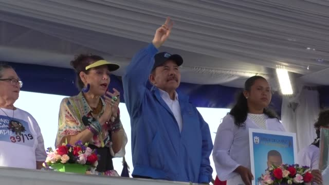 nicaraguan president daniel ortega attacks the united nations during the commemoration of the 51st anniversary of the pancasan guerrilla campaign in... - managua stock videos & royalty-free footage