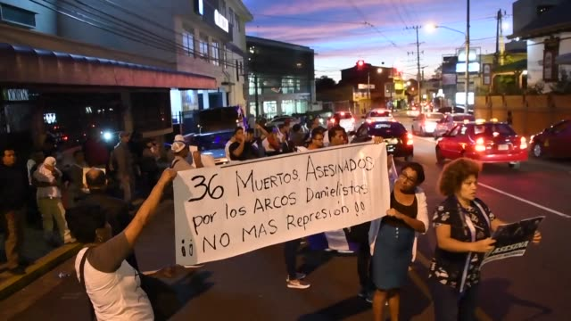 nicaraguans in costa rica rally outside the nicaraguan embassy in san jose in support of the protests taking place in their country against the... - san jose costa rica stock videos & royalty-free footage
