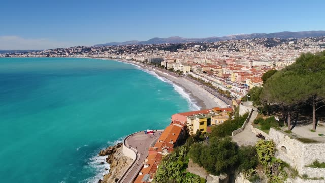 nice, aerial view of promenade des anglais - provence alpes cote d'azur stock videos & royalty-free footage