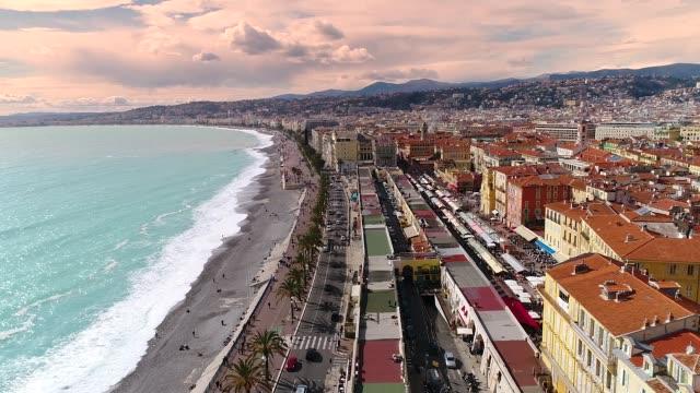 Nice, Aerial view of Promenade des Anglais