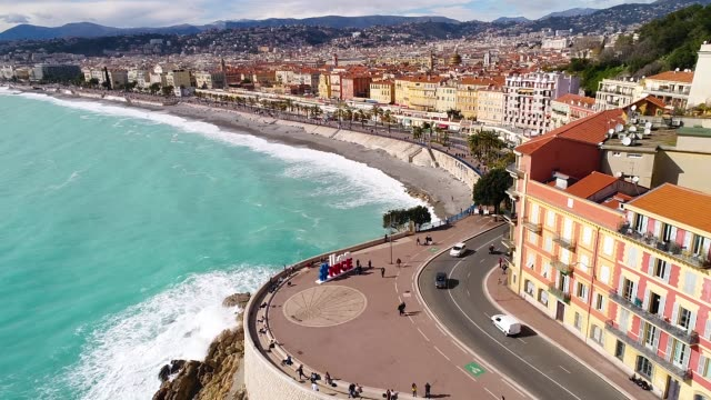 nice, aerial view of promenade des anglais - french stock videos & royalty-free footage