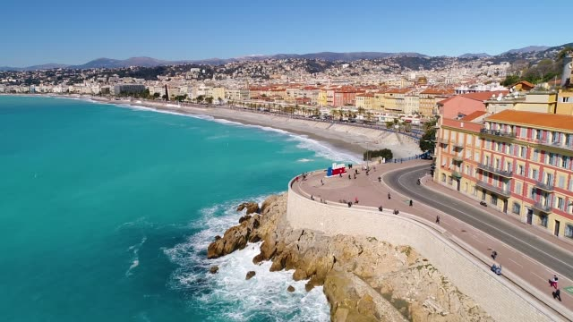 nice, aerial view of promenade des anglais - frankreich stock-videos und b-roll-filmmaterial