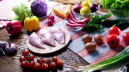 nice and colored food composition of Chicken breast and fresh ingredients