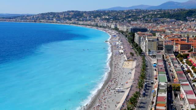 vídeos de stock e filmes b-roll de nice beach, côte d'azur, france - frança