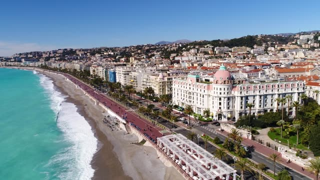 nice, france, aerial view of promenade des anglais - france stock videos & royalty-free footage