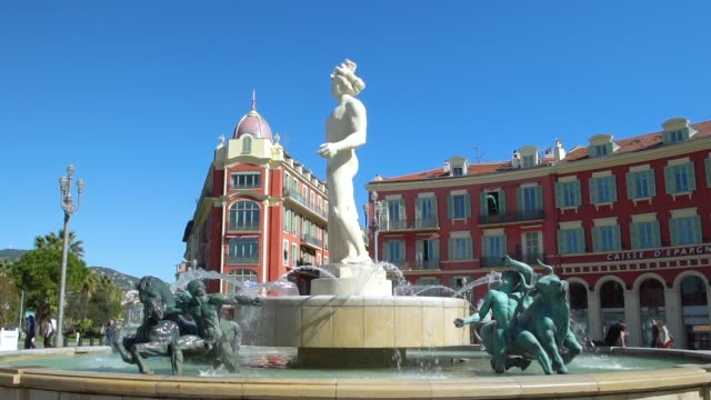 nice, place massena and fontaine du soleil - france stock videos & royalty-free footage
