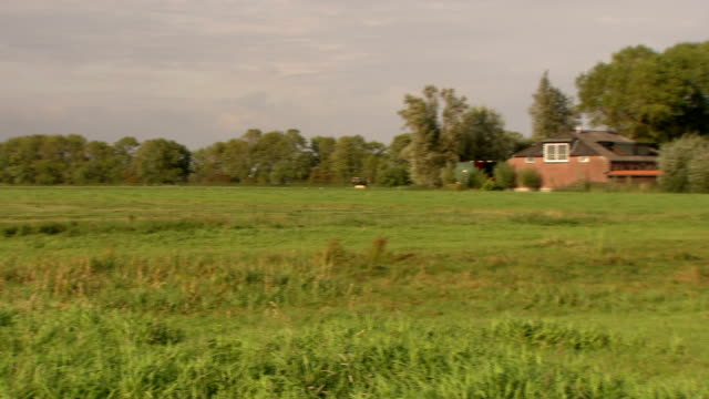 nice shot of farmhouse in meadow - polder stock videos and b-roll footage