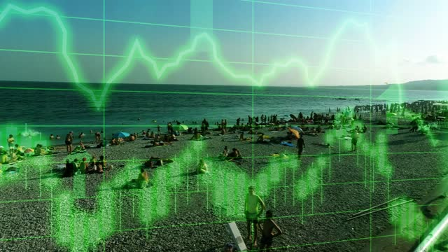 nice tourist beach panning scene with positive growth chart and graph data. concept piece to indicate improving tourism, gdp, stock market crash, recession, depression, inflation, deflation, bull market, good national economic and business performance - bull market stock videos & royalty-free footage