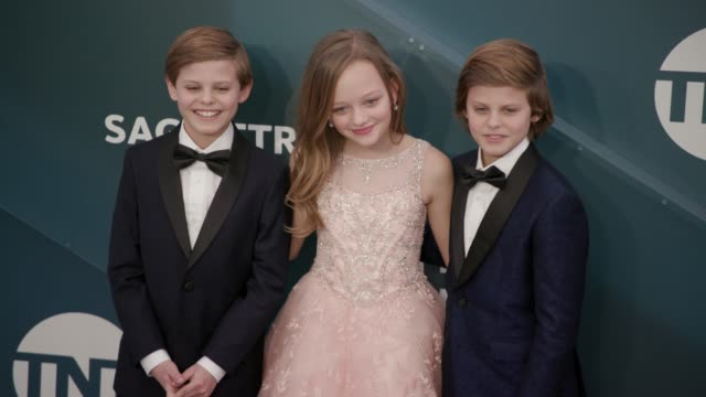 nicholas crovetti, ivy george and cameron crovetti at the 26th annual screen actors guild awards - arrivals at the shrine auditorium on january 19,... - screen actors guild awards stock videos & royalty-free footage