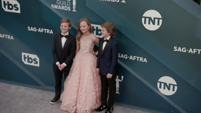 nicholas crovetti ivy george and cameron crovetti at the 26th annual screen actors guild awards arrivals at the shrine auditorium on january 19 2020... - shrine auditorium stock videos & royalty-free footage