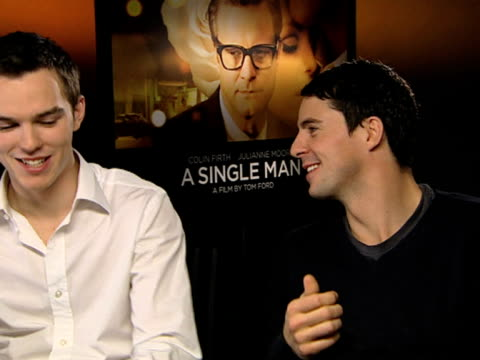 nicholas hoult and matthew goode on how colin firth was in every single scene on matthew being barely in it on how colin's performance isn't a big... - matthew goode stock videos & royalty-free footage