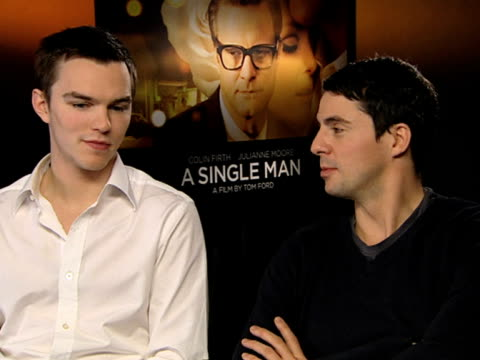 nicholas hoult and matthew goode on how excited they are to see how the british public take to the film on how colin firth and julianne moore have... - matthew goode stock videos & royalty-free footage