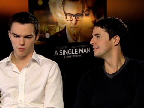 nicholas hoult and matthew goode on nicholas becoming the face of tom ford's eyewear and the experience of shooting the campaign with the model with... - matthew goode stock videos & royalty-free footage