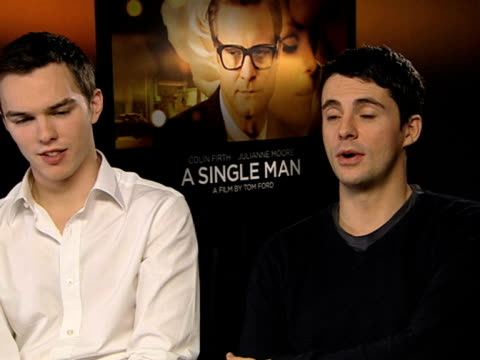 nicholas hoult and matthew goode on selling the film saying it's an extraordinary film by an extraordinary man on how good the performances are great... - matthew goode stock videos & royalty-free footage