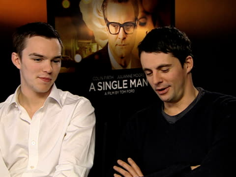 nicholas hoult and matthew goode on tom ford still being in touch on how erudite he is on being a fan of his at the a single man interviews at london... - matthew goode stock videos & royalty-free footage