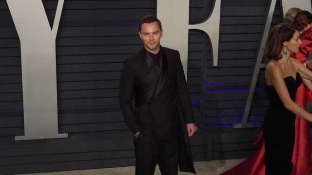 nicholas hoult at 2019 vanity fair oscar party hosted by radhika jones at wallis annenberg center for the performing arts on february 24, 2019 in... - vanity fair oscar party stock videos & royalty-free footage