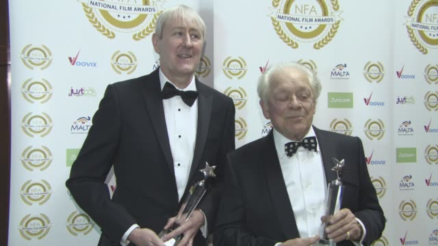 nicholas lyndhurst, sir david jason at national film awards at porchester hall on march 29, 2017 in london, england. - nicholas lyndhurst stock videos & royalty-free footage