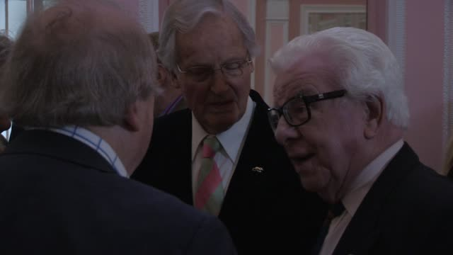 nicholas parsons; barry cryer - the oldie's at simpsons in the strand on february 12, 2013 in london, england - nicholas parsons stock videos & royalty-free footage