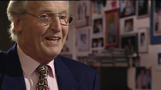 "nicholas parsons, speaking in 2001, on being free to talk passionately about the arts and its importance and doesn't agree with called a 'luvvie'. ""i... - nicholas parsons stock videos & royalty-free footage"