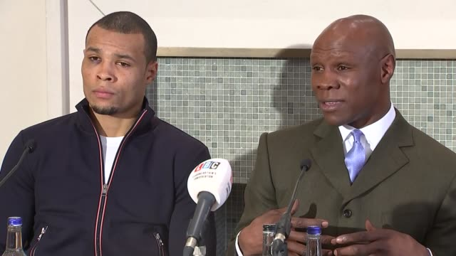 nick blackwell injury: chris eubank sr and chris eubank jr press conference; chris eubank snr, chris eubank jnr q&a session sot - chris eubank sr stock videos & royalty-free footage