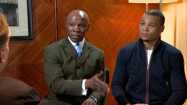 nick blackwell injury: interviews with chris eubank snr and chris eubank junior; chris eubank senior and chris eubank junior interviews sot - chris eubank sr stock videos & royalty-free footage