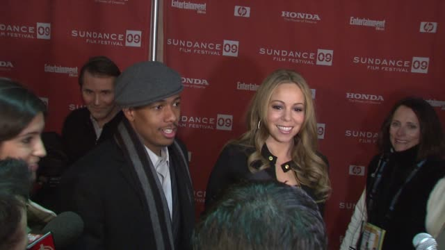 nick cannon and mariah carey at the 2009 sundance film festival 'push' premiere at park city ut - mariah carey stock videos and b-roll footage