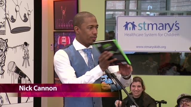 clean nick cannon at st mary's healthcare system for children book launch for nick's neon aliens ate my homework and other poems at st mary's... - event capsule stock videos & royalty-free footage
