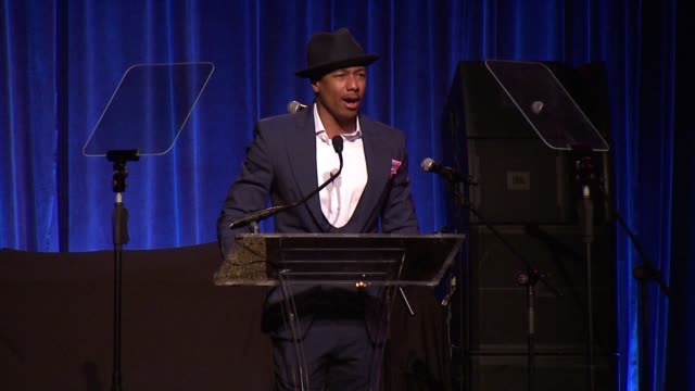 speech nick cannon introduces an award at gabrielle's angel foundation hosts angel ball 2015 at cipriani wall street on october 19 2015 in new york... - nick cannon stock videos & royalty-free footage