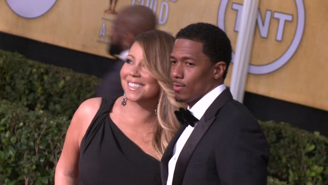 nick cannon mariah carey at 20th annual screen actors guild awards arrivals at the shrine auditorium on in los angeles california - mariah carey stock-videos und b-roll-filmmaterial