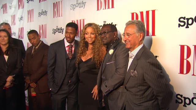 nick cannon mariah carey randy jackson del bryant at bmi urban awards 2012 on 9/7/12 in los angeles ca - nick cannon stock videos & royalty-free footage