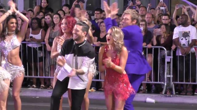 nick carter, alexa penavega & mark ballas filming dancing with the stars flash mob on hollywood blvd in hollywood - celebrity sightings on sept 10,... - alexa penavega stock videos & royalty-free footage
