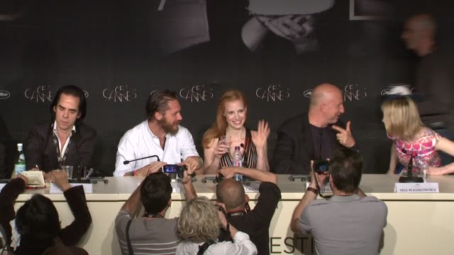 Nick Cave Tom Hardy Jessica Chastain Mia Wasikowska Guy Pearce at Lawless Press Conference 65th Cannes Film Festival at Palais des Festivals on May...