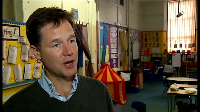 nick clegg announces free school meals for all 4 to 7 year olds nick clegg mp interview sot we are going to give all the children a hot healthy meal... - dinner lady stock videos & royalty-free footage